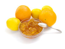 Plate of citrus jam. Citrus jam with orange and lemon isolated stock image