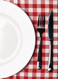 Plate at classic checkered tablecloth Royalty Free Stock Photos