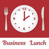 A plate with a clock face and the text `Business Lunch`. There is also a fork and a knife in the picture. Business lunch concept. Vector illustration in a Stock Illustration