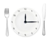 Plate - clock with fork and knife Royalty Free Stock Images