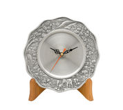 Plate clock on wood stand Royalty Free Stock Photography