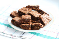 Plate with cocoa brownies Royalty Free Stock Photography