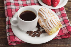 Plate with coffee and cake Stock Image