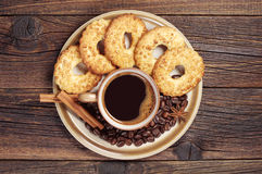 Plate with coffee and cookies Stock Photos