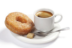 Plate with coffee and donut Royalty Free Stock Photo