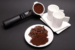 Plate with coffee, espresso filter holder and two cups Stock Image
