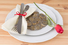 Plate with coins knife and fork Royalty Free Stock Photography
