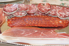 Plate of cold cuts Stock Photography