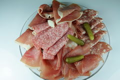Plate of cold cuts Stock Photos