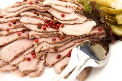 Plate of cold meat slices Stock Image