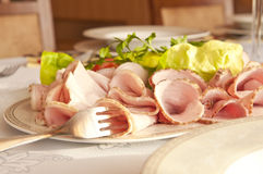 Plate of cold meats Royalty Free Stock Photo
