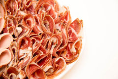 Plate with cold slices meat. Royalty Free Stock Photos