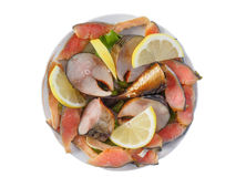 Plate of cold-smoked salmon and mackerel Stock Photo