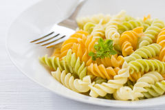 Plate of Color pasta Royalty Free Stock Photography