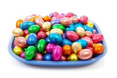 Plate with colorful easter eggs Stock Images