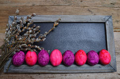 Plate of colorful Easter eggs wooden background Royalty Free Stock Photos