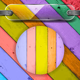 Plate on the Colorful Wooden Planks Stock Photo
