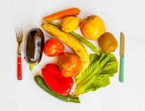 A plate of  coloured vegetables and fruits. A plate of vitamins and mineral-salts  very important for the health Royalty Free Stock Photography