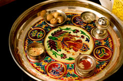 Plate containing sacred items for puja (prayers) Stock Image