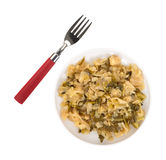Plate of cooked cabbage with fork to the side Royalty Free Stock Images