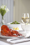 Plate with cooked lobster Stock Images