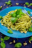 Plate of cooked spaghetti pasta with green pesto Royalty Free Stock Photography