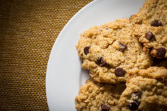 Plate of Oatmeal Chocolate Chip Cookies Stock Photo