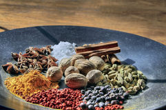 Plate of Cooking Spices. Platter of Cooking Spices on Wooden Table Royalty Free Stock Image
