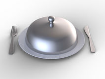 Plate covered with silver cap Royalty Free Stock Photography