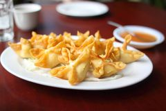Plate of crab puffs Stock Photography
