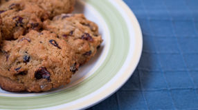 Plate of Cranberry Chocolate Chip Cookies on Blue Background Royalty Free Stock Image