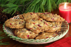 Plate of Cranberry Christmas Cookies Royalty Free Stock Photography