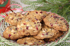 Plate of Cranberry Nut Cookies Royalty Free Stock Images