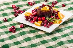 Plate of cranberry sauce room for text Royalty Free Stock Images