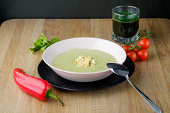 Plate of cream soup with juice Stock Photos