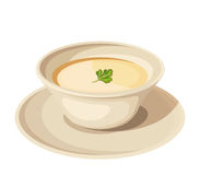 Plate of cream soup. Vector illustration. Vector illustration of a plate of cream soup  on a white background Royalty Free Stock Images