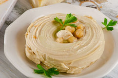 Plate of a Creamy Hummus. Royalty Free Stock Images
