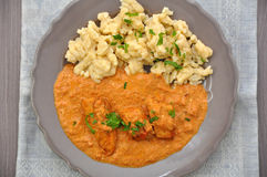 Hungarian chicken paprikash Stock Photos
