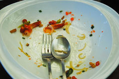 Plate with crumbs food ,Remaining Thai food,Selective Focus Stock Photos