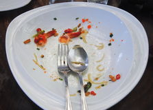 Plate with crumbs food ,Remaining Thai food,Selective Focus Royalty Free Stock Images