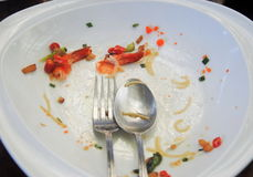 Plate with crumbs food ,Remaining Thai food,Selective Focus Royalty Free Stock Photo