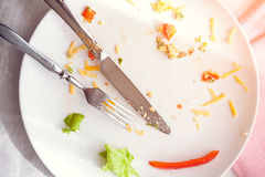 Plate with crumbs food and used fork Royalty Free Stock Image
