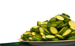 Plate of cucumber slice. Royalty Free Stock Photos
