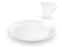 Plate with a cup on a white background Stock Images