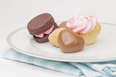 Plate of cupcakes and other desserts Stock Image