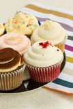 Plate of cupcakes Stock Images