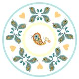 Plate with cute birds and hearts. Royalty Free Stock Photos