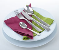 Plate and cutlery. Tableware, plate and cutlery on white background Stock Photos