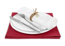 Plate and cutlery. On white Stock Photo