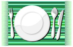 Plate and Cutlery Background. Plate Cutlery on Green Table Cloth Stock Photos